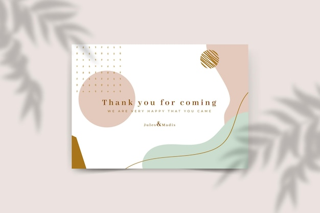 Wedding thanks card template Free Vector