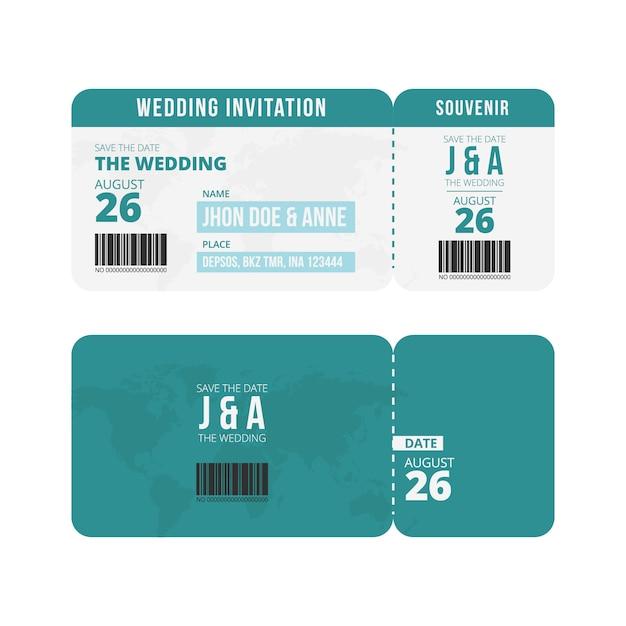 wedding ticket invitation template vector premium download
