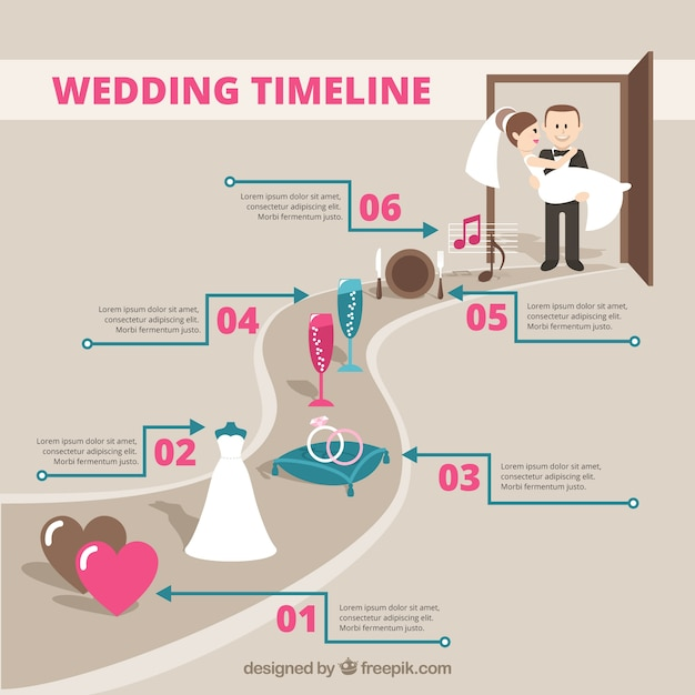 Wedding Timeline Infography Vector  Free Download