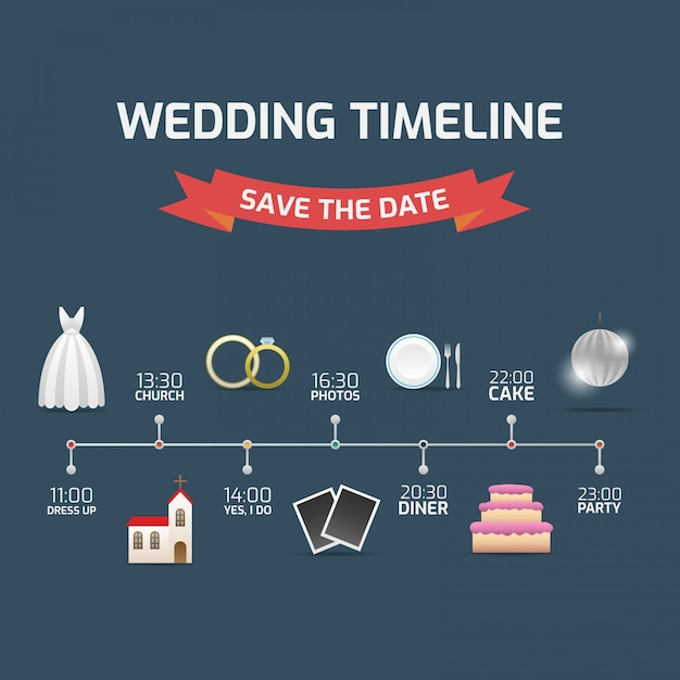 wedding timeline save the date free vector