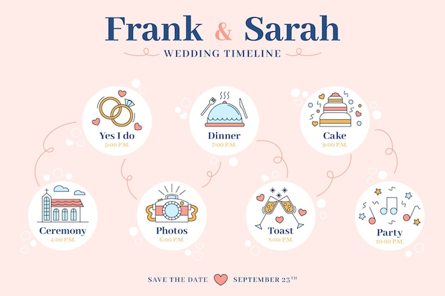 Wedding Timeline Template In Lineal Style Vector Free Download