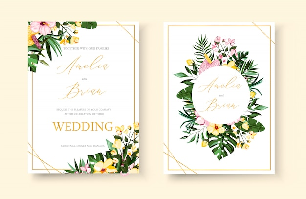 234fe88348b39 Wedding tropical exotic floral golden geometric frame invitation ...