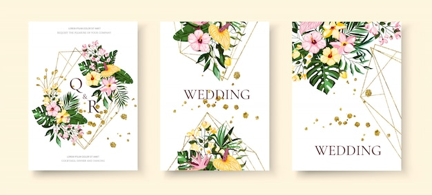 結婚式の熱帯のエキゾチックな花柄の幾何学的な三角形のフレームの招待状は、プルメリアのハイビスカスカラーグリーンモンステラヤシの葉で日付を保存します。植物のエレガントな装飾的なベクトルテンプレート 無料ベクター