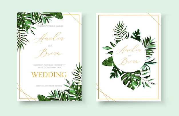 Wedding tropical exotic floral golden invitation card save the date design with green tropic monstera palm leaves herbs wreath and frame. botanical elegant decorative vector template watercolor style Free Vector