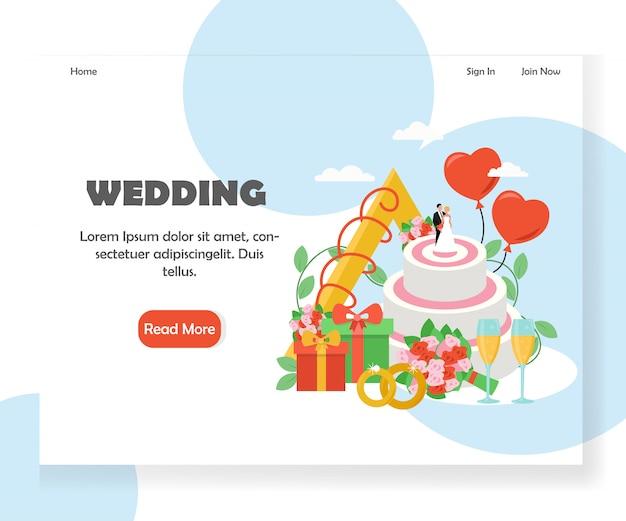 Wedding vector website landing page banner template Premium Vector