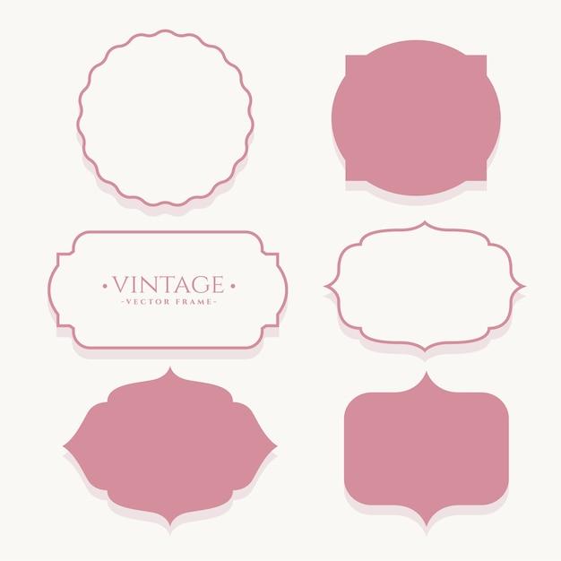 Набор пустых наклеек свадебная винтажная рамка Бесплатные векторы