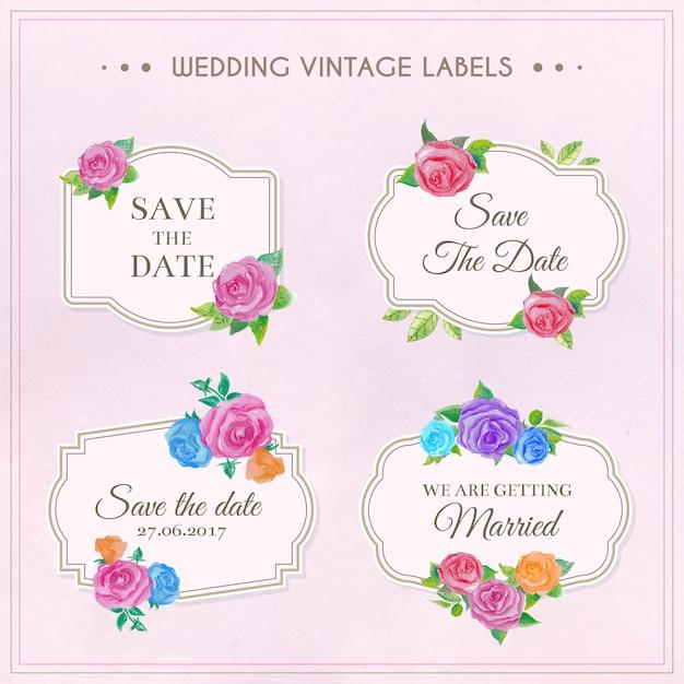 Wedding vintage labels collection