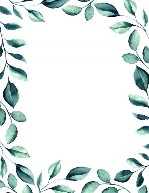 Свадебные акварель зеленые листья кадра. Бесплатные векторы