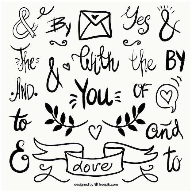 Wedding Words And Symbols With Ornaments Vector Free Download