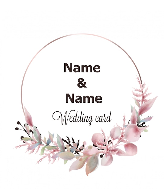 Wedding wreath watercolor Premium Vector