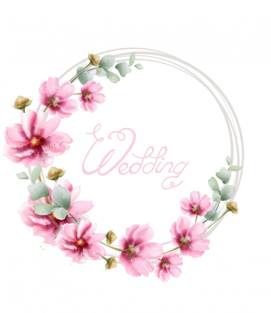 Wedding wreath with summer colorful flowers in watercolor . floral frame decor Premium Vector