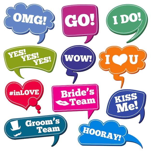 Weddings phrases in speech bubbles vector photo props set Premium Vector