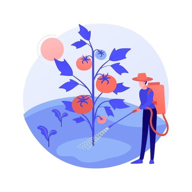 雑草防除抽象的な概念ベクトル図。ガーデニングのメンテナンス、害虫駆除、スプレー化学薬品、除草剤、芝生の手入れサービス、除草剤と農薬の抽象的な比喩。 無料ベクター