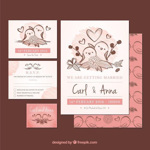 Weeding invitation with hand drawn birds Free Vector