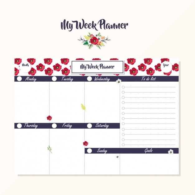 Week planner design Free Vector