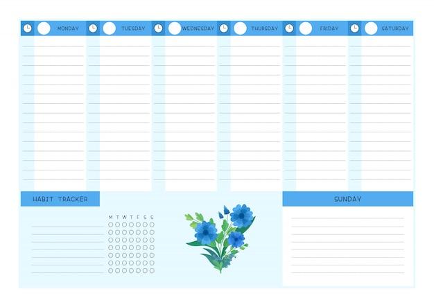 주 시간표 및 습관 추적기 블루 야생 꽃 플랫 템플릿. 프리미엄 벡터