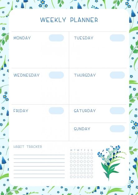주 시간표 및 습관 추적기 블루 야생 꽃 평면 벡터 템플릿. 흰색 꽃 꽃과 꽃잎 달력 템플릿 프리미엄 벡터