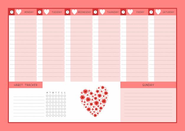 주 시간표 및 습관 추적기 붉은 꽃과 하트 템플릿. 야생화 꽃과 꽃잎이있는 달력 디자인. 플래너 용 개인 작업 주최자 빈 페이지 무료 벡터