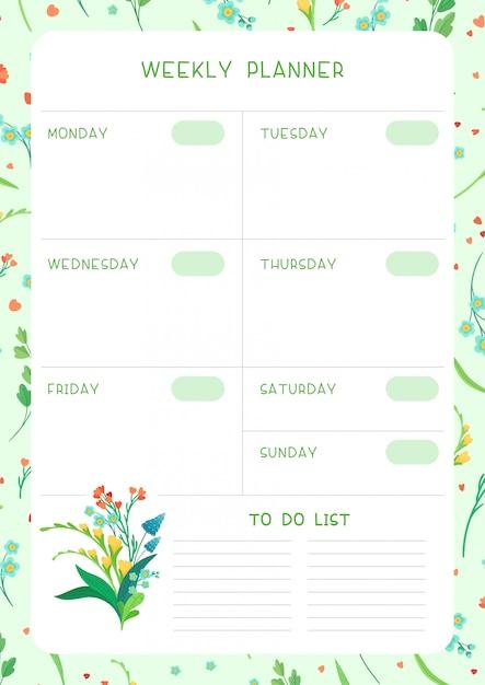주 시간표 및 습관 추적기 야생 꽃 플랫 템플릿입니다. 꽃 꽃과 흰색 배경에 꽃잎 달력 디자인. 플래너에 대한 개인 작업 주최자 빈 페이지 프리미엄 벡터