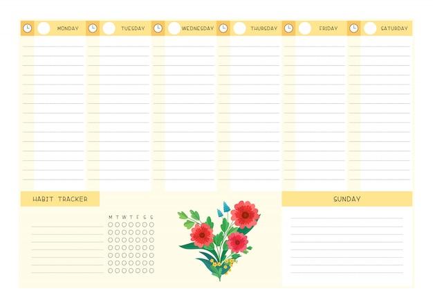 주 시간표 및 습관 추적기 야생 꽃 플랫 템플릿입니다. 꽃과 꽃잎이있는 달력 디자인 프리미엄 벡터