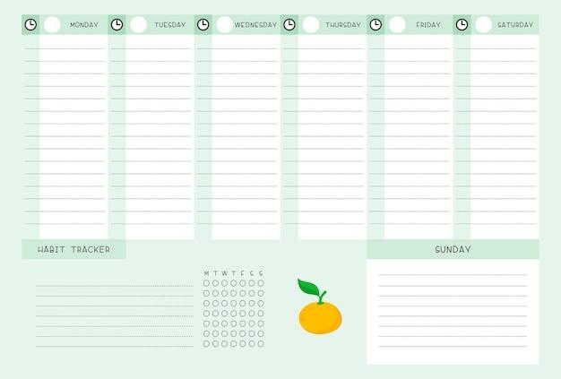 みかんテンプレート付きの週の時間割と習慣トラッカー。柑橘系の漫画イラストとカレンダーのデザイン。プランナーのためのパーソナルタスクオーガナイザー空白ページ 無料ベクター
