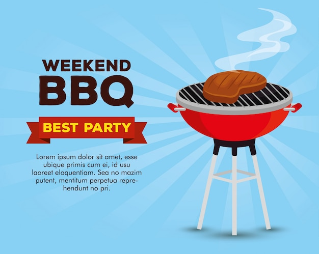 Weekend bbq party invitation template Free Vector