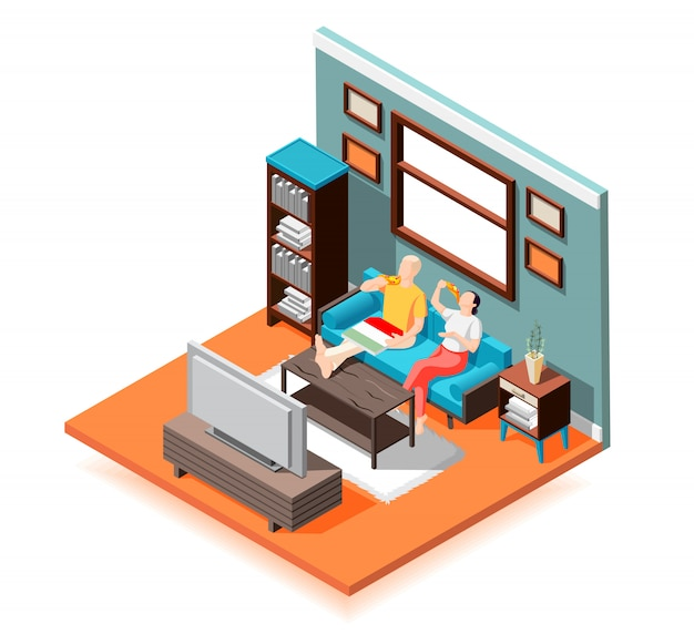 Weekend at home isometric composition couple on sofa during eating delivered pizza before tv Free Vector