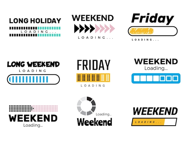 Weekend loading bar. web ui interface loading lazy week days sunday saturday free party coming to end success processes vector. illustration weekend soon load, progress message Premium Vector