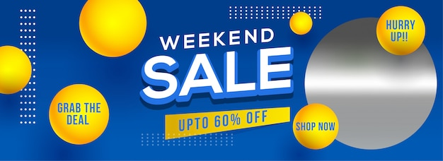 Weekend sale header or banner design with 60% discount offer and Premium Vector