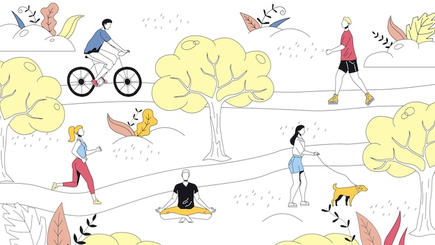 Weekend time leisure concept. people walk in the park, do yoga, ride bicycle. active people do sport and have a good time. weekend active time. cartoon linear outline flat style. Premium Vector
