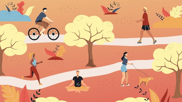 Weekend time leisure. people walk in the park, do yoga, ride bicycle, jogging riding roller skates. active people do sport and have a good time. weekend active time. cartoon flat vector illustration. Premium Vector