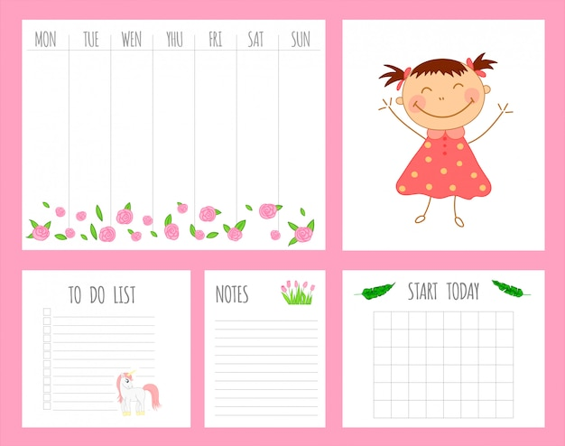 Weekly children's planner with girl, unicorn and flowers Premium Vector