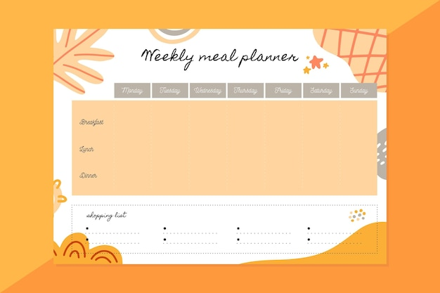 Weekly meal planner template Free Vector
