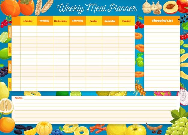 주간 식사 계획, 시간표, 주간 음식 계획 주최자. 아침, 점심, 저녁 및 간식을위한 캘린더 메뉴와 식료품 구매를위한 쇼핑 목록이 있습니다. 개인 다이어트를위한 일기 템플릿 프리미엄 벡터