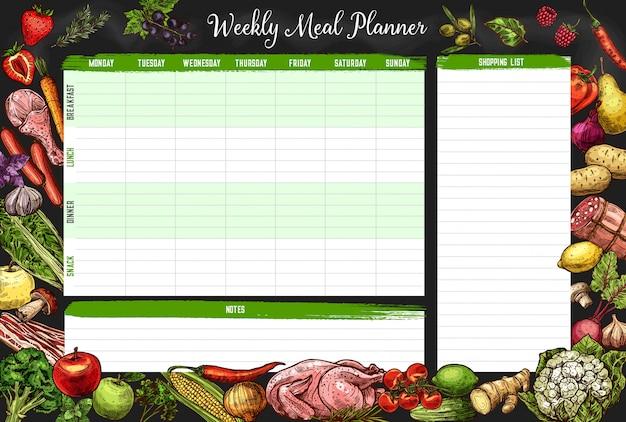 주간 식사 계획, 시간표, 주간 음식 계획 프리미엄 벡터