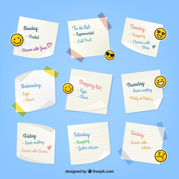 Weekly organizer with emoticons Free Vector