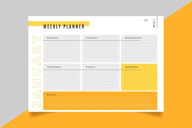 Weekly planner card template Free Vector