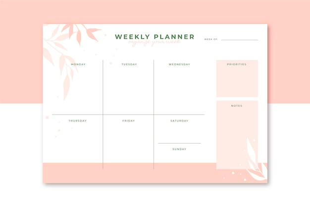 Weekly planner editorial template Free Vector