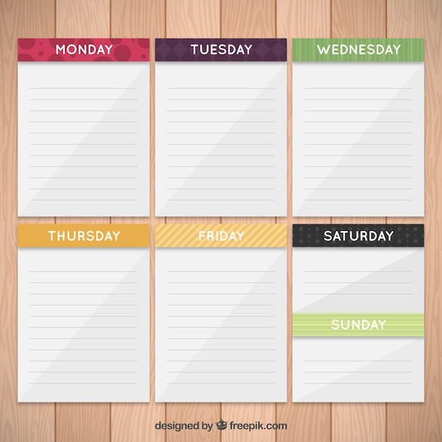 weekly planner in paper notes vector premium download
