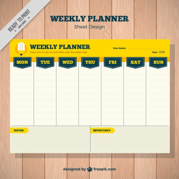 Weekly Calendar Design : Weekly planner in yellow color vector free download