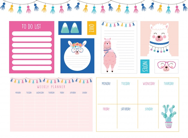 Weekly planner and to do list Premium Vector