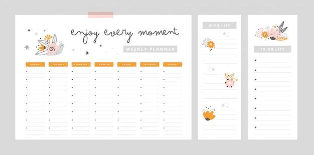 Еженедельная страница планировщика, шаблон списка пожеланий, список дел. плоская планировка, органайзер макет Premium векторы