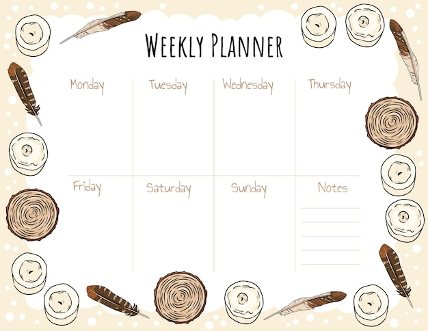 Weekly planner template with candles feathers and wood cut Premium Vector