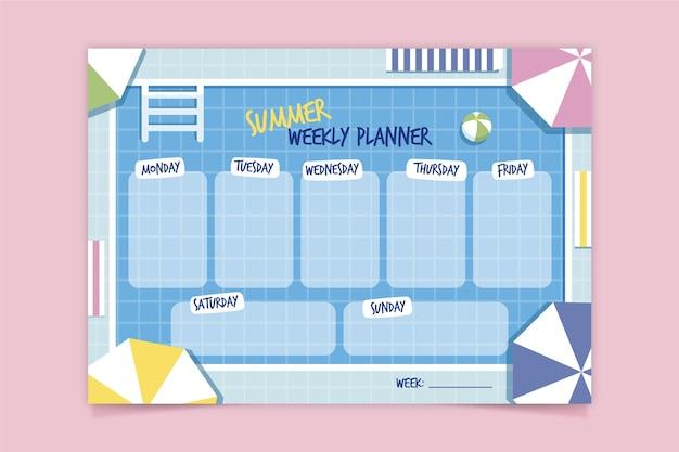 Weekly planner template Free Vector
