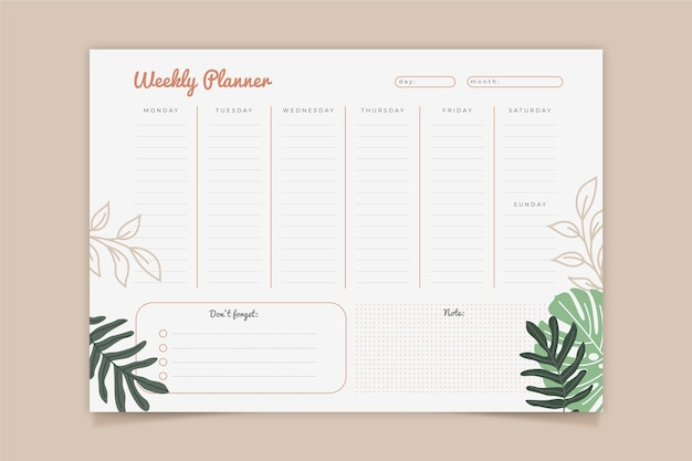Modello di pianificatore settimanale Vettore gratuito