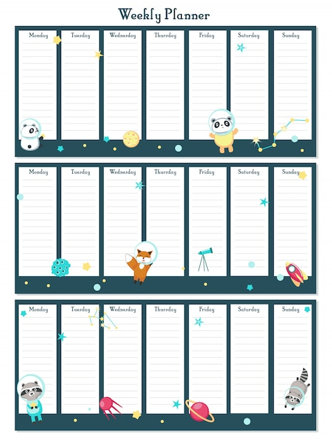 Weekly planner vector template with space animals Premium Vector