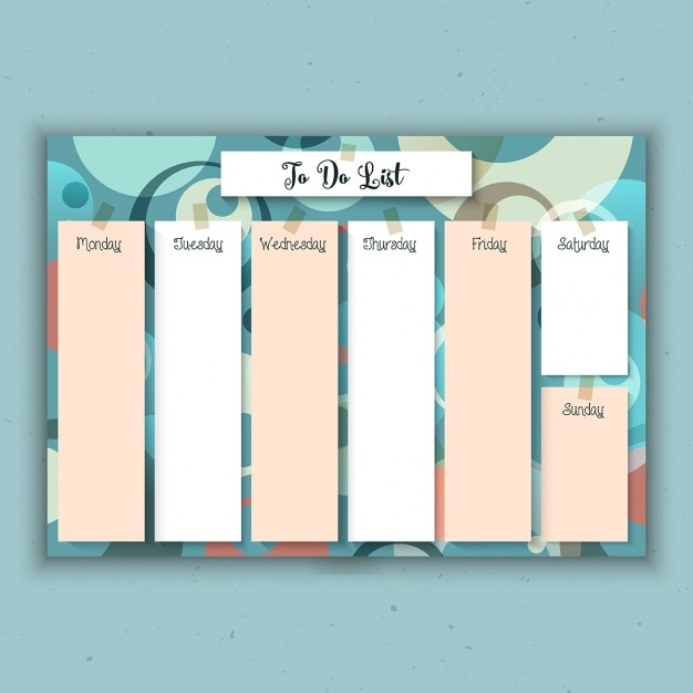 Weekly planner with a retro design vector free download for Designer planners