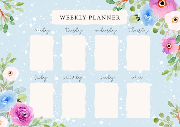 Weekly planner with beautiful watercolor floral background Premium Vector