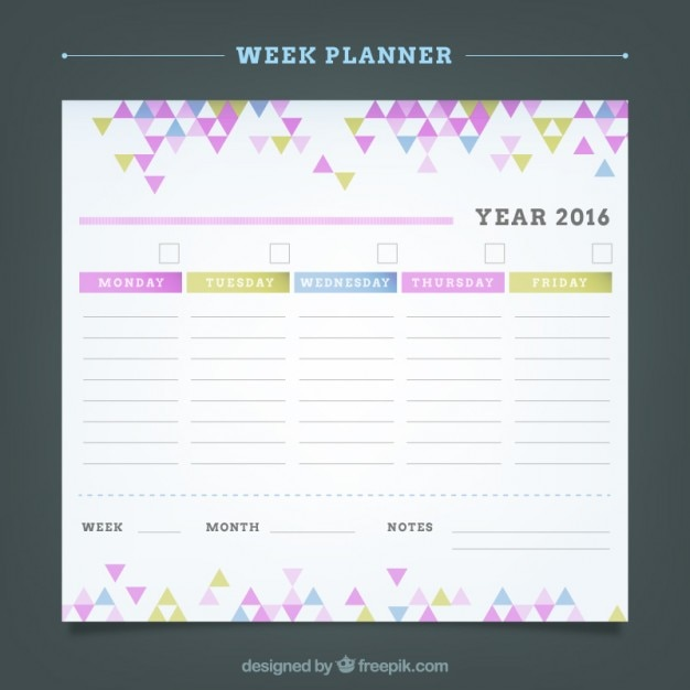 Weekly planner with colored little triangles