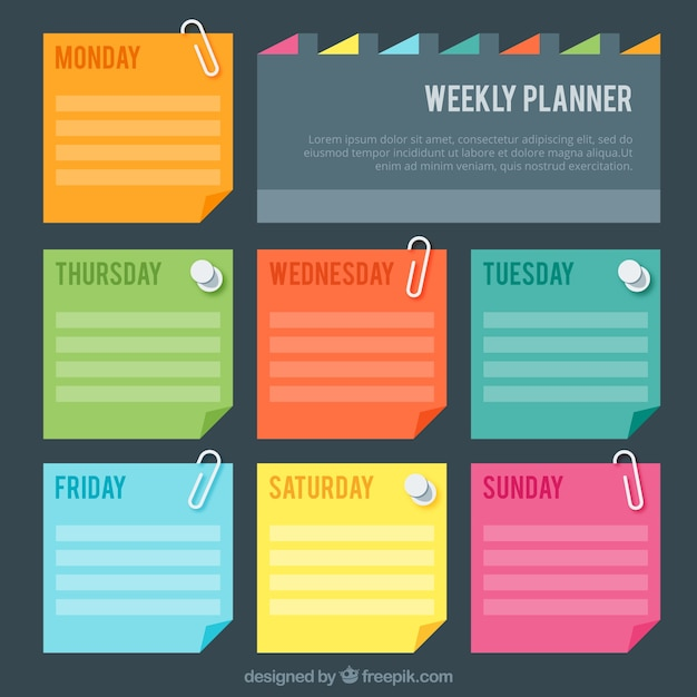 Weekly Planner With Colores Post It Vector Free Download